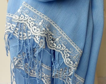 Pashmina Shawl in Blue with French Lace Bridesmaid shawls gifts Scarf Lace Summer scarf Wedding shawl Party Lightweight Soft Shawls
