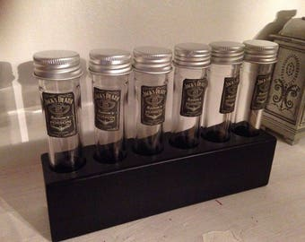 Set of 6 glass test tubes  in holding rack, small vintage look labels drinking decor gift party wedding Fill with your drinks.