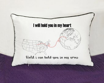 long distance girlfriend gift-cotton anniversary gift-couple bedding pillow case-i'll hold you in my heart,until i could hold you in my arms