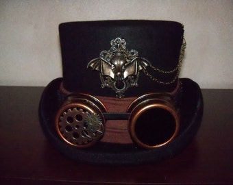 Steampunk Hat, Steampunk Top Hat, Black Top Hat, Hat with Goggles,Grey Ghot Toppers, Wool Top Hat, Top Hat, Victorian Hat, Goth Hat