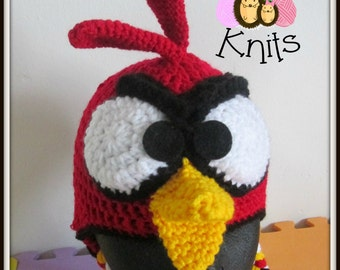 Crochet Angry Bird Red Hat. Prices vary, please see full listing