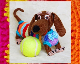 Amigurumi Pattern. Crochet tabby positive dog. Amigurumi dog.