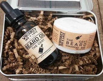 The Gent Basic Beard Kit - Whiskey-inspired scented beard grooming kit for starters, starter men's grooming kit, Starter Beard Kit