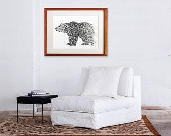 Bear Watercolor Print - 16x20 Archival Extra Large Print - Animal Painting - Grizzly Bear Art Print - Wall Decor Art Home Decor Housewares