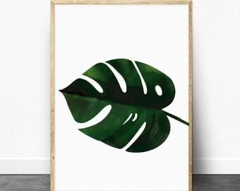 Monstera leaf print -  Printable Art - Banana leaf print - Botanical Print - Monstera leaves print - Custom Size - Tropical Leaf - wall art