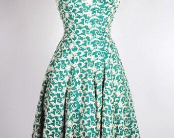 1950's Dress - 50's Green Fit & Flare Dress - 50's Rhinestone Dress - Size S
