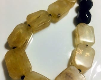 Pineapple quarts and black onxy necklace