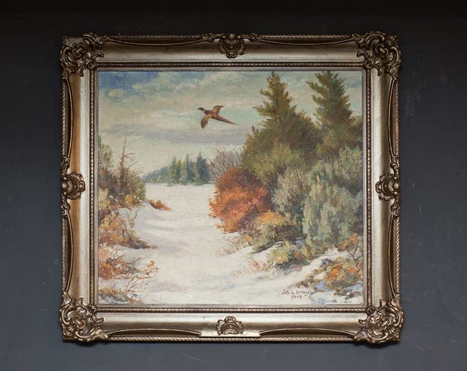 Antique Painting / 1948 Signed Painting of a Flying Pheasant Autumn Scene With Colorful Trees and Bird