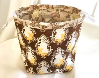 Deer SockSack Sock Knitting Bag Small Knitting Project Bag
