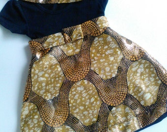 Baby Girl Dress / African Fabric / Gold'n Black / Ready to ship / 3-6 months