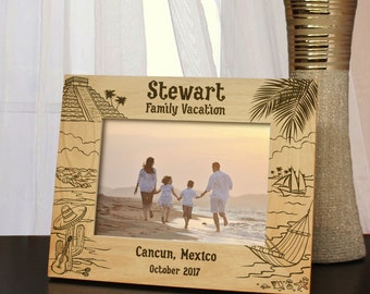 Visiting Mexico Inspired Picture Frame Designs with Font Selection (Select Size, Design, and Frame Orientation)