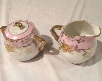 Vintage Japanese Creamer & Sugar Bowl Pink with Gold Roses and Accents Beautiful!