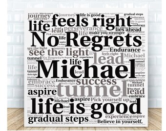 Inspirational Words Plaque - No Regrets. Personalised Gift