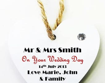 Your Wedding Day Personalised Heart Tag * Mini Plaque - Mr & Mrs