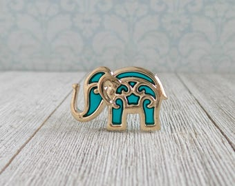 Elephant - Bollywood - Teal and Gold - Animal - Strength - Honor - Patience - Lapel Pin