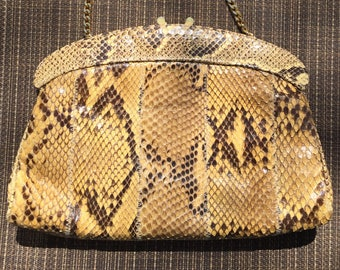 Snakeskin Shoulder Bag, Snakeskin Clutch Bag, Made in Spain