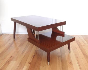 Mid Century Side/End Table  2 Tiered Step Table  Dark Red Mahogany Color
