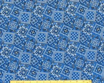 Bandana Fabric Medium Blue 100% Cotton