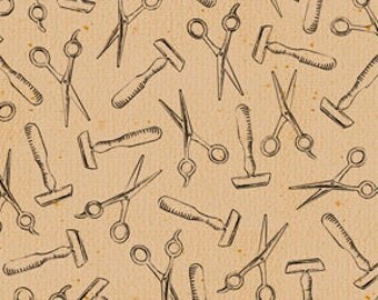 Barber Fabric A Close Shave Fabric Razors and Scissors Tan From Quilting Treasures 100% Cotton