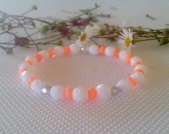 Bracelet for girl-Czech glass white faceted bead & orange neon bead stretch bracelet-silver faceted bead-flower girl bracelet-gift for girl