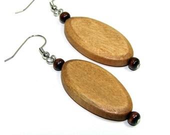 Brown earrings.  Natural earrings. Brown wooden earrings. Minimalist earrings. Neutral jewelry. Brown jewelry. Natural brown earrings.