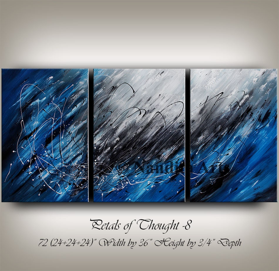 Large wall art blue acrylic abstract painting wall decor grey zoom amipublicfo Gallery