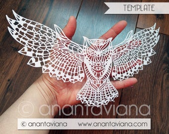 Papercut Template Commercial | Owl flying | Commercial Use | Design by Anantaviana