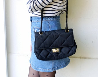 Vintage black pouch, quilted bag