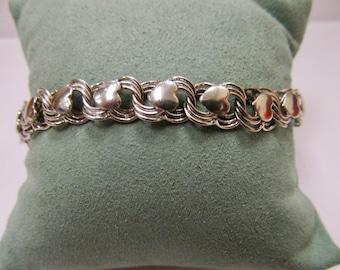Vintage Sterling Silver Heart Link Charm Style Bracelet Item W # 444