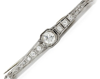 Vintage Art Deco European Cut Diamond Brooch Bar Pin in Platinum 1.50ctw