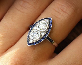 Vintage Art Deco European Double Diamond Ring with Sapphires in Platinum 1.20ctw