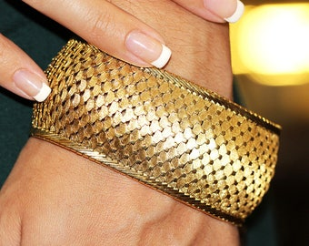 """Vintage Gold Bracelet Snake Skin in 18kt Yellow Gold 7.5"""" x 1 3/8"""""""