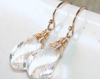 Clear Twisted Rock Crystal Drop Earrings, 14K Gold Filled, Wire Wrapped Jewelery, April Birthstone, Rock Crystal Dangle Earrings
