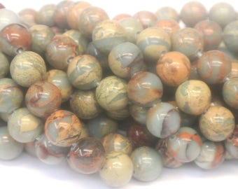 12mm Round polished green and brown rhyolite jasper, Big Hole Beads, beautiful earth tones, Large Hole, Beads for leather, Wholesale Beads