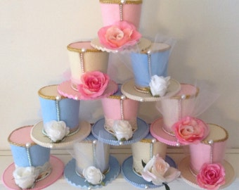 """Set of 10 Alice in Wonderland Decorations, Baby Shower Favors, Mad Hatter Felt Tea Party Hats, Lace, Pearls, Roses, Fascinators (3.5"""" Tall)"""