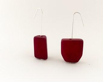 Red Bead Earrings, Minimalist Earrings