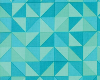 1/2 Yard - Spectrum Ombre - Half Square Triangle - Turquoise - V and Co - Vanessa Christenson - Moda Fabrics - Fabric Yardage - 10860-17