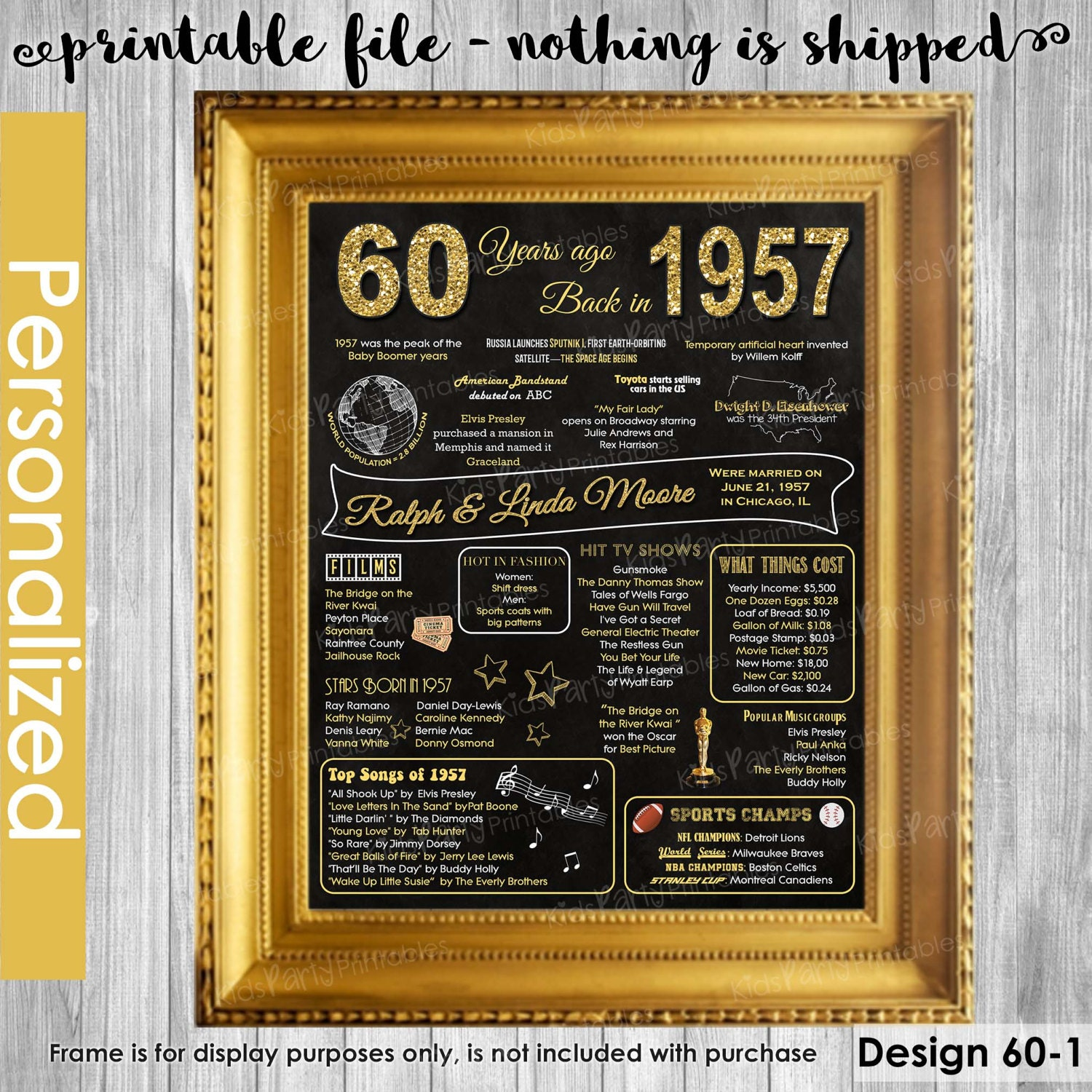 60th Wedding Anniversary Traditional Gifts: 60th Wedding Anniversary Gifts 60th Anniversary Gift For