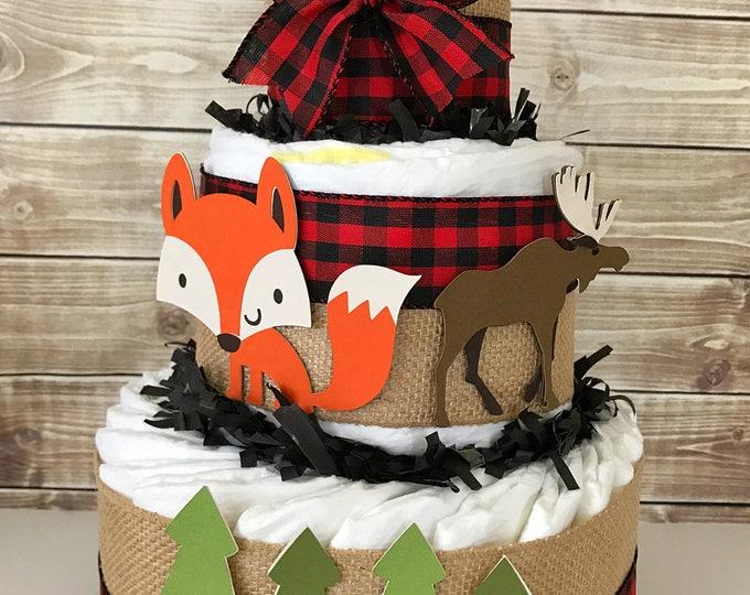 Featured listing image: Woodland Lumberjack Diaper Cake, Little Lumberjack Baby Shower Centerpiece
