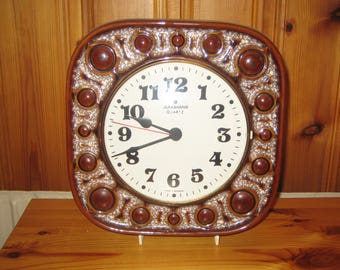 1970s Vintage Junghans/Herbolzheimer West German Ceramic Wall Clock