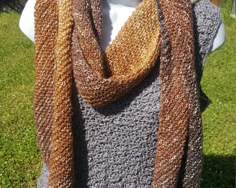 Super soft knit scarf, wrap scarf holiday gift, woman scarf, scarves and wraps, metallic thread, namaste neautral
