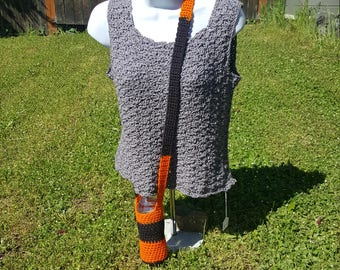 over the shoulder water bottle holder (black/orange), bottle carrier, hiking accesory