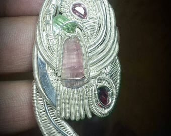 165 cts Sterling Silver Wire Wrap Pendant Tourmaline/Kynite Handmade by Artist + 1 Chain