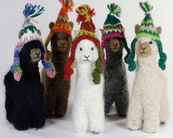 "Felted 4"" Alpaca Sculptures ~ Needle Felt Animals"