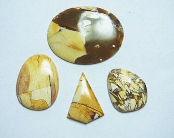 set of 4 yellow brecciatted mookaite cabochons