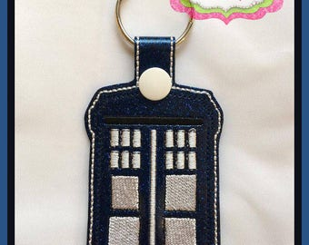 Phone Booth Key Fob Embroidery Design