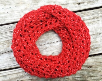 Toddler Infinity Scarf Red Sparkle Valentine's Day Crochet Scarf Ready To Ship In 2 Business Days