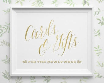 PRINTABLE Wedding Signs, Gold Wedding Cards and Gifts Sign, Card Box Sign, Gift Table Sign, Spring Wedding Card Sign, Instant Download WS1GP