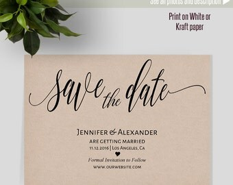 Save the Date card, Printable Save the date template, Wedding cards, Instant download self editable PDF S125