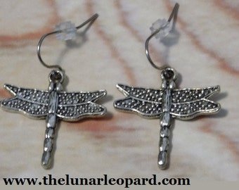 Pewter Dragonfly Charm Earrings on Stainless Steel